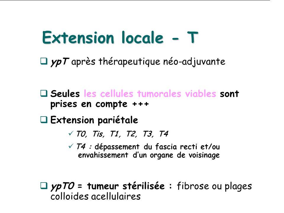 Extension locale - T ypT après thérapeutique néo-adjuvante