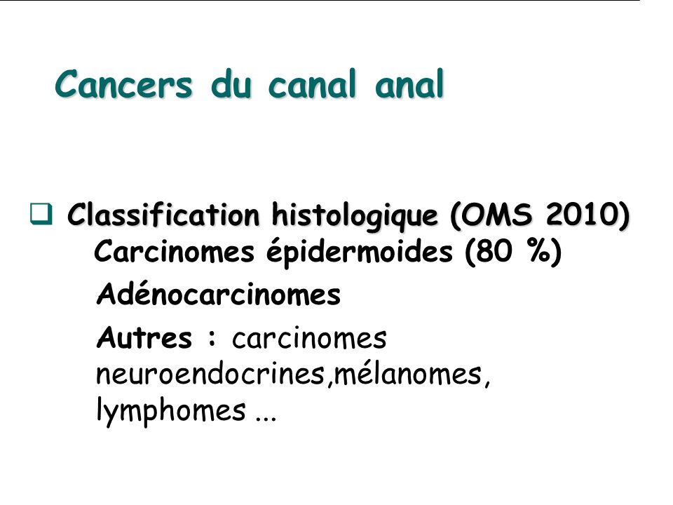 Cancers du canal anal Classification histologique (OMS 2010) Carcinomes épidermoides (80 %) Adénocarcinomes.