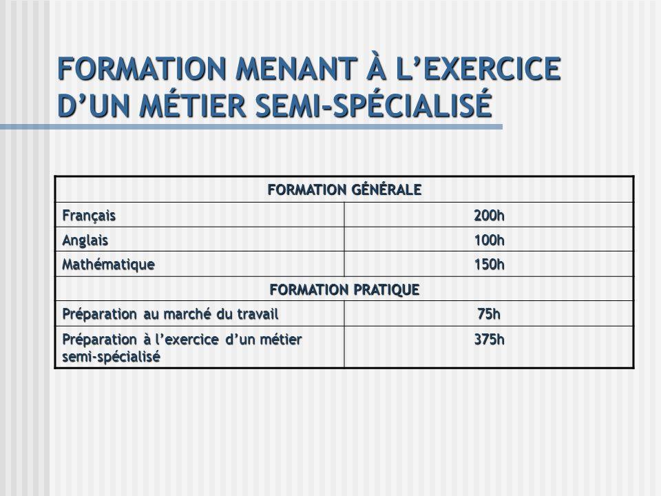 FORMATION MENANT À L'EXERCICE D'UN MÉTIER SEMI-SPÉCIALISÉ