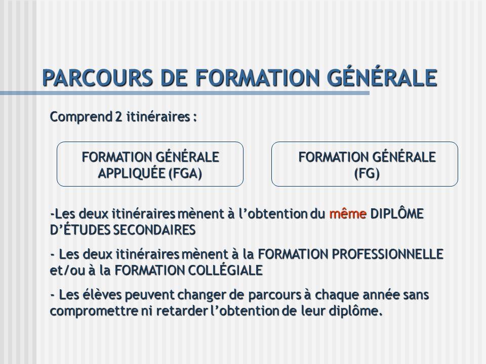 PARCOURS DE FORMATION GÉNÉRALE