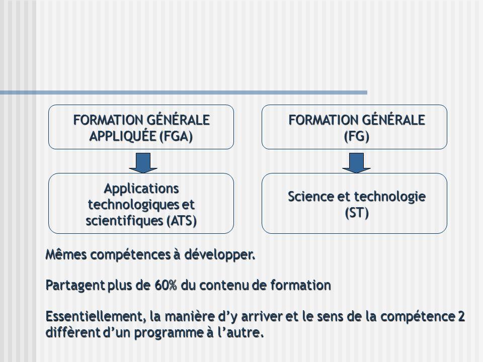 FORMATION GÉNÉRALE APPLIQUÉE (FGA) FORMATION GÉNÉRALE (FG)