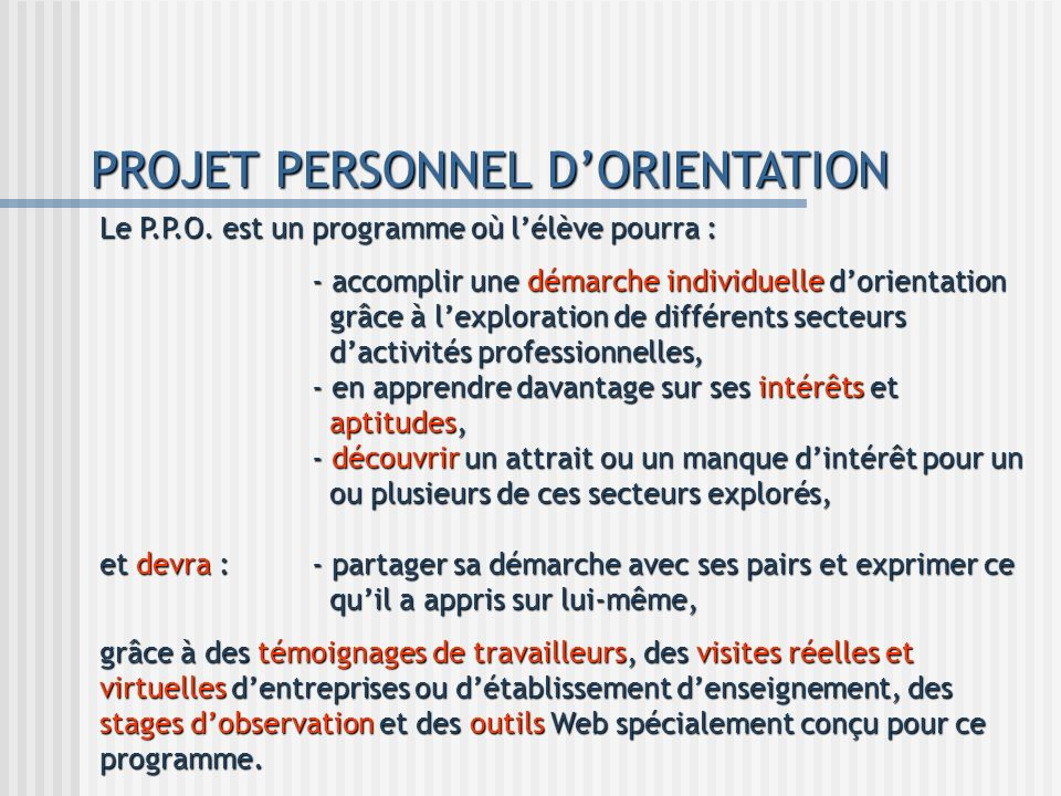 PROJET PERSONNEL D'ORIENTATION