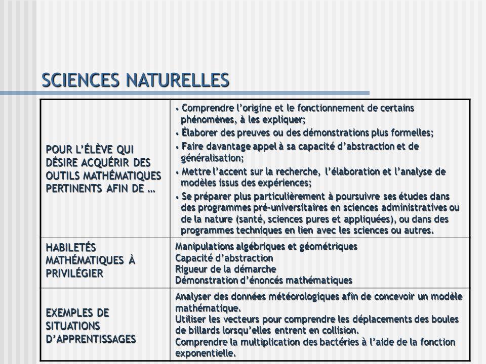 SCIENCES NATURELLES POUR L'ÉLÈVE QUI DÉSIRE ACQUÉRIR DES OUTILS MATHÉMATIQUES PERTINENTS AFIN DE …