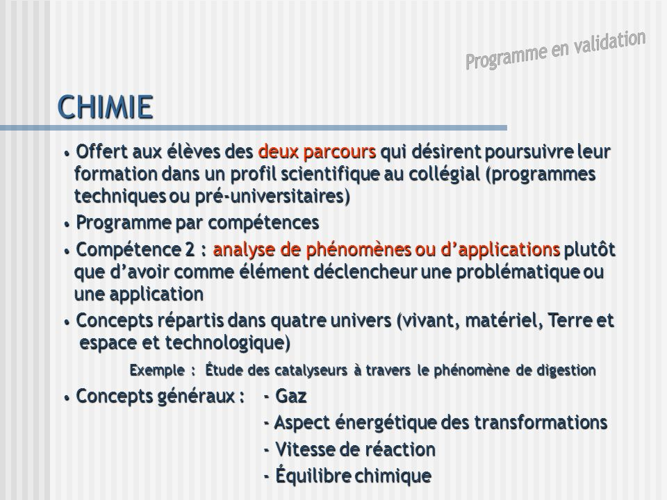 Programme en validation