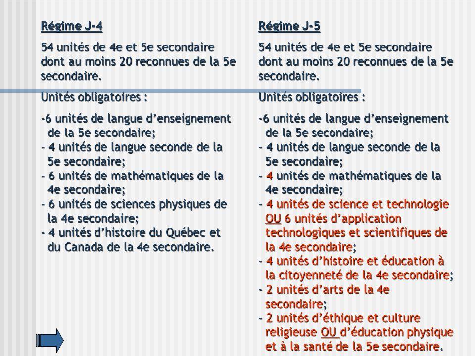 Régime J-4 54 unités de 4e et 5e secondaire dont au moins 20 reconnues de la 5e secondaire. Unités obligatoires :
