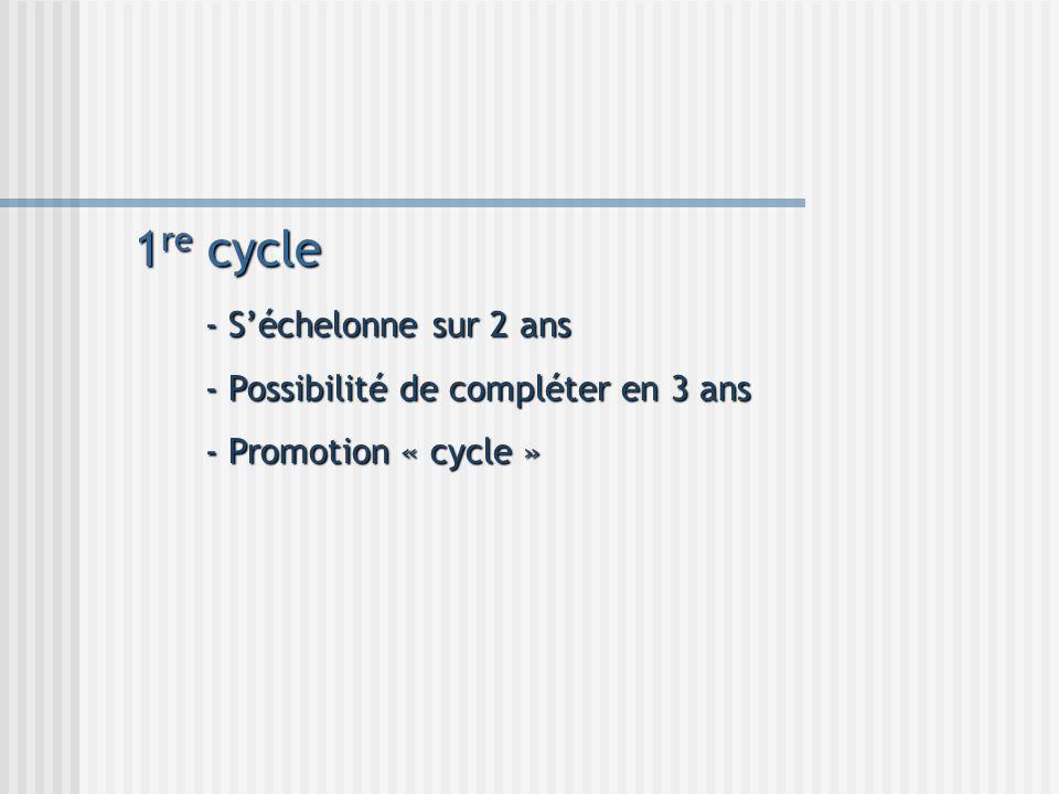1re cycle - S'échelonne sur 2 ans - Possibilité de compléter en 3 ans