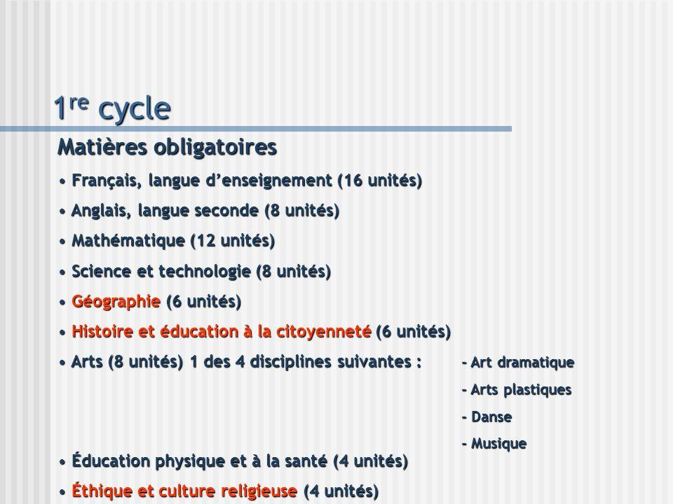 1re cycle Matières obligatoires