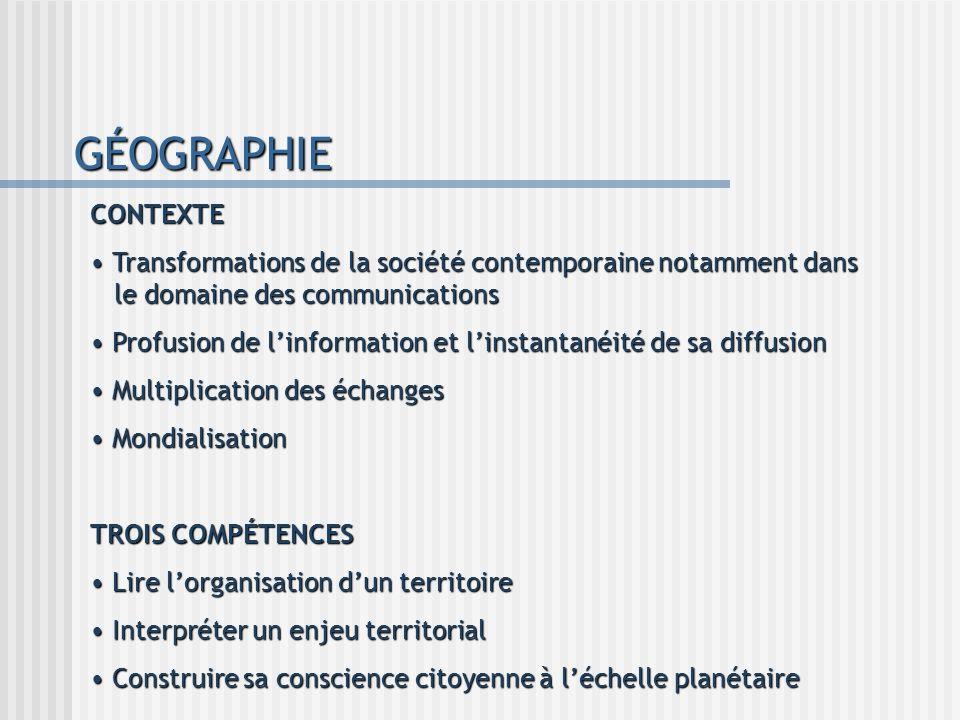 GÉOGRAPHIE CONTEXTE. Transformations de la société contemporaine notamment dans le domaine des communications.