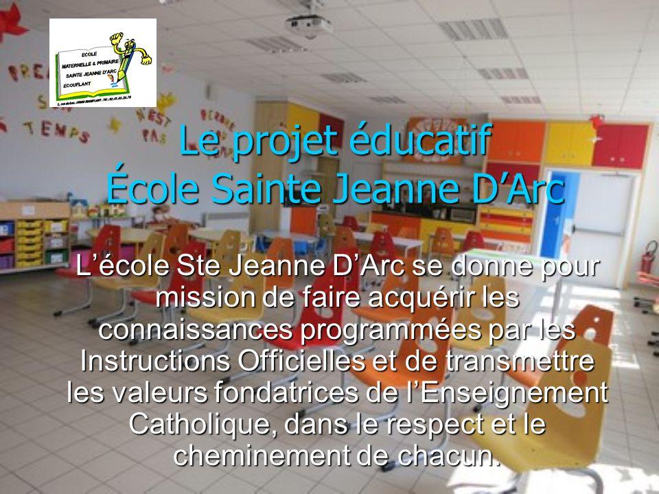 Le projet éducatif École Sainte Jeanne D'Arc