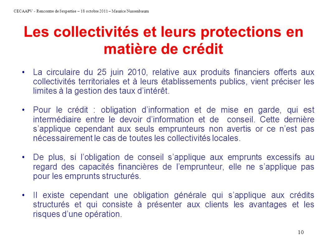 Les collectivités et leurs protections en matière de crédit
