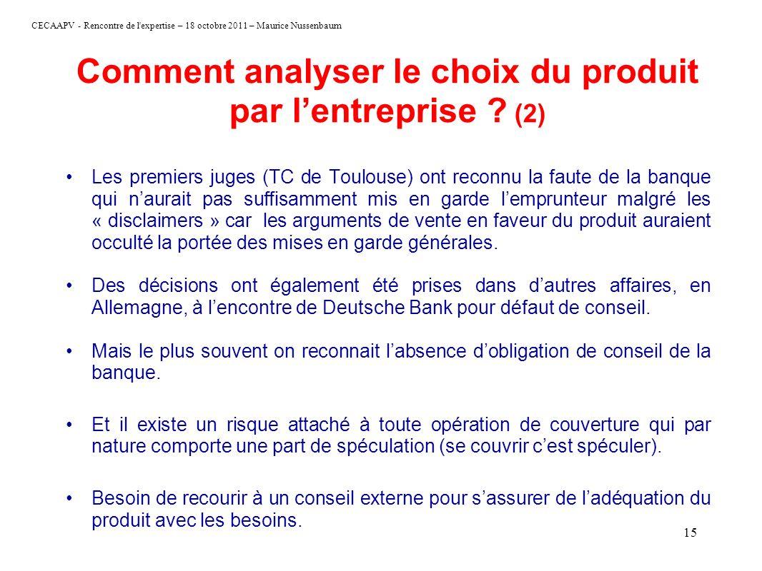Comment analyser le choix du produit par l'entreprise (2)