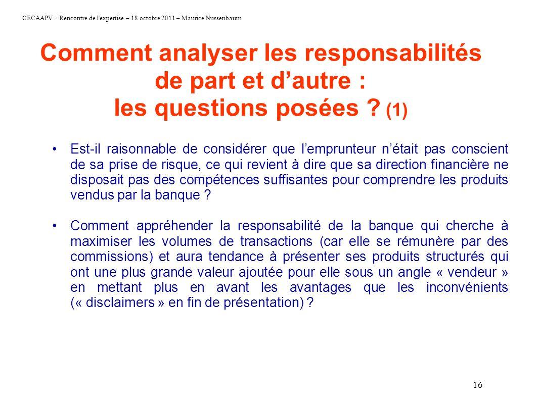 Comment analyser les responsabilités de part et d'autre : les questions posées (1)