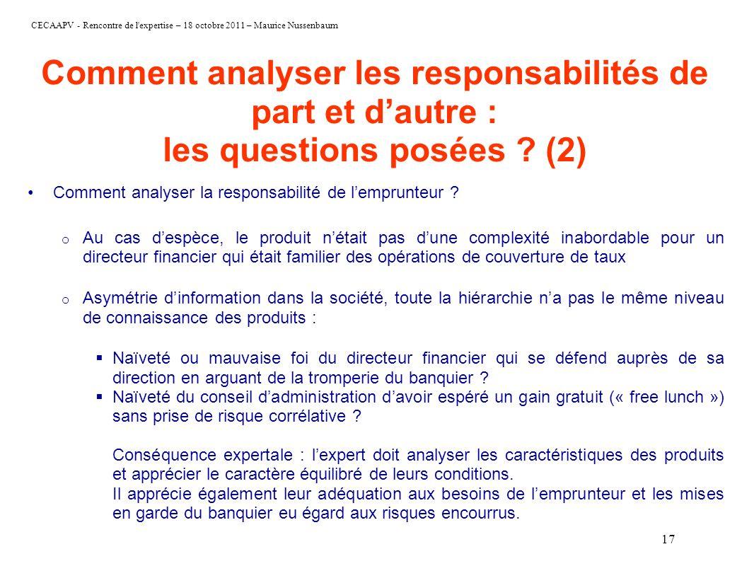 Comment analyser les responsabilités de part et d'autre : les questions posées (2)