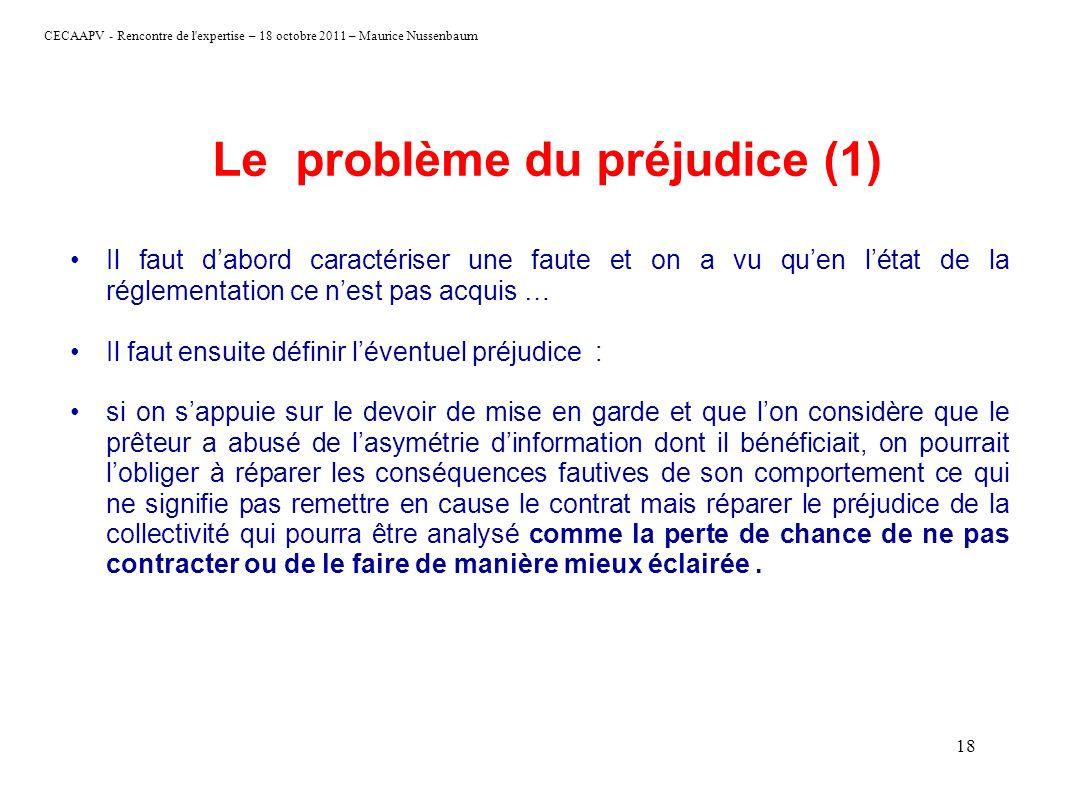 Le problème du préjudice (1)