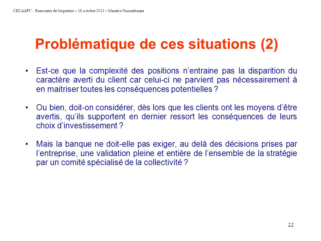 Problématique de ces situations (2)
