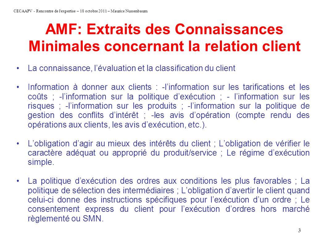 AMF: Extraits des Connaissances Minimales concernant la relation client