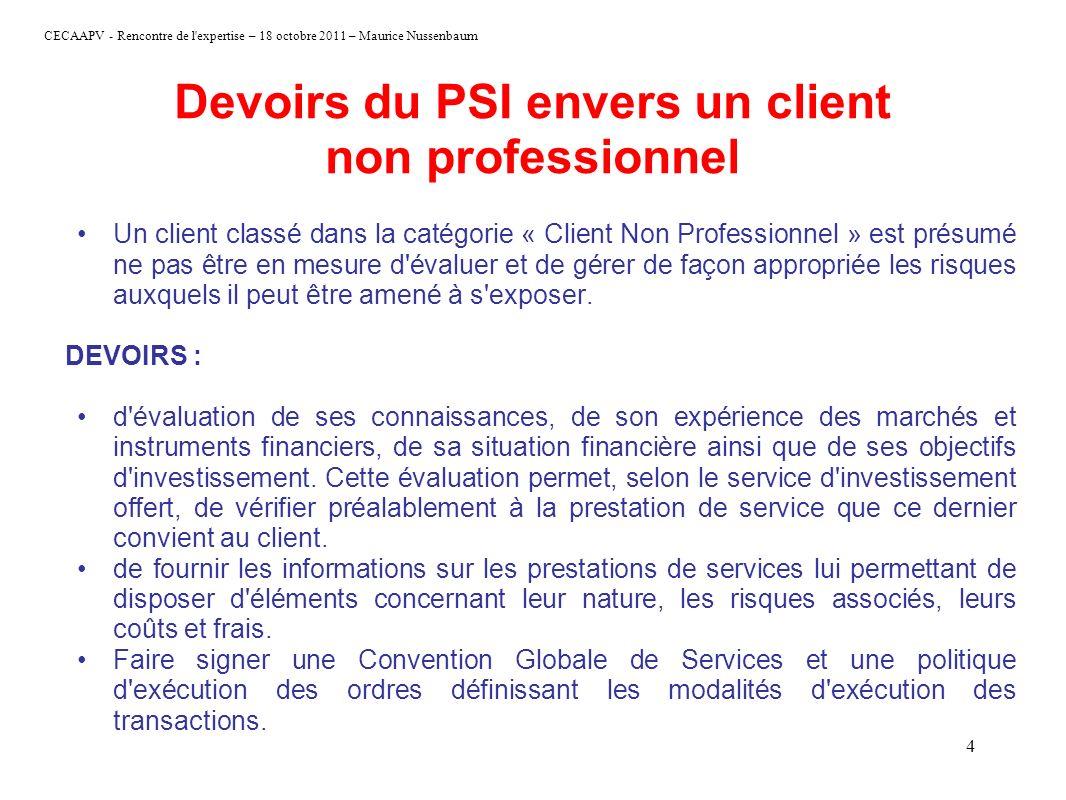 Devoirs du PSI envers un client non professionnel
