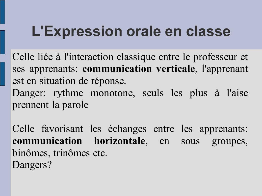 L Expression orale en classe
