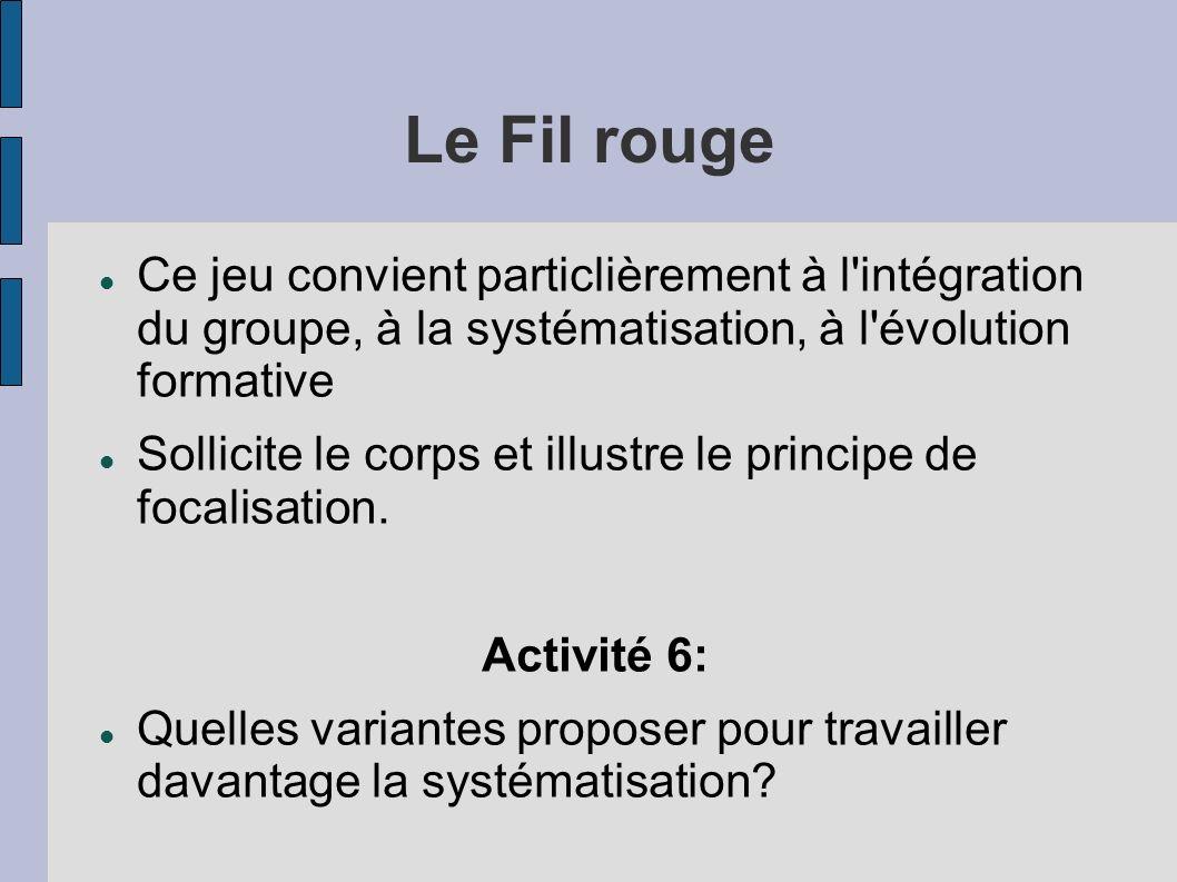 Le Fil rouge Ce jeu convient particlièrement à l intégration du groupe, à la systématisation, à l évolution formative.