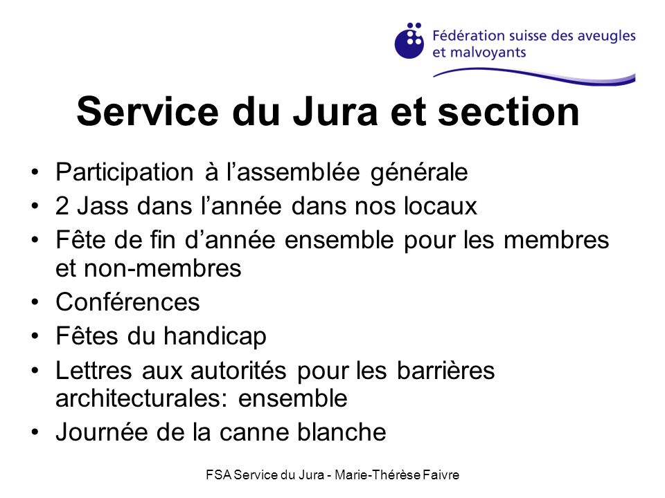 Service du Jura et section