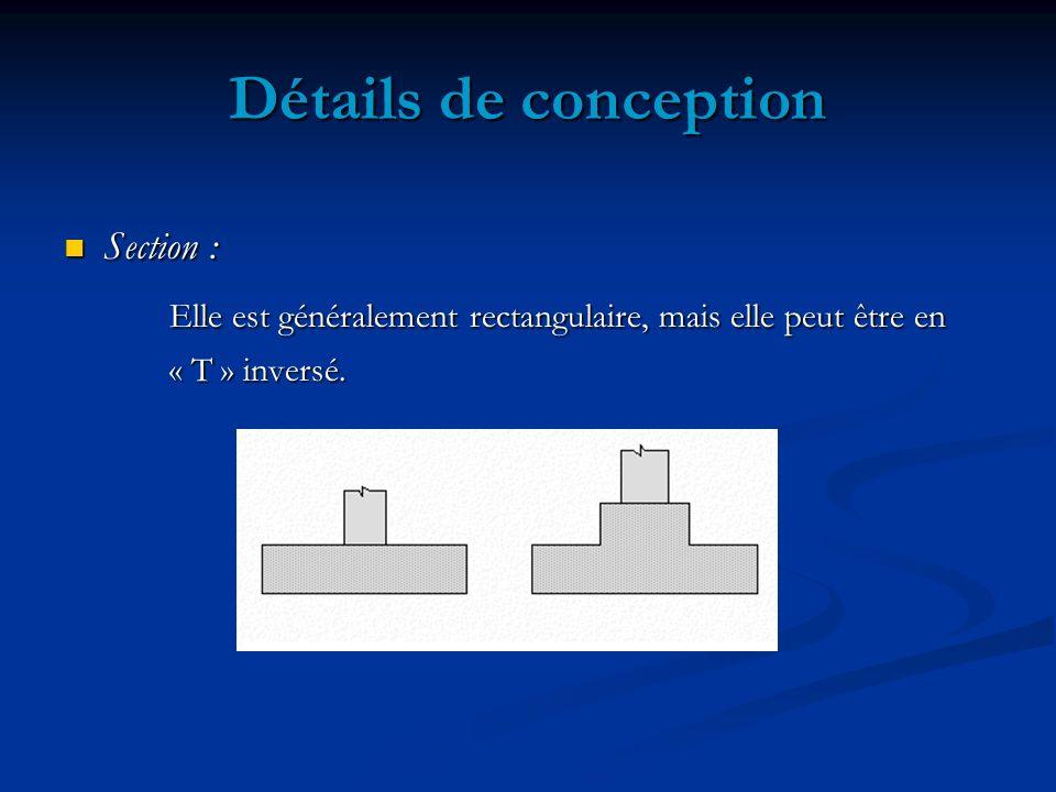 Détails de conception Section : Elle est généralement rectangulaire, mais elle peut être en.
