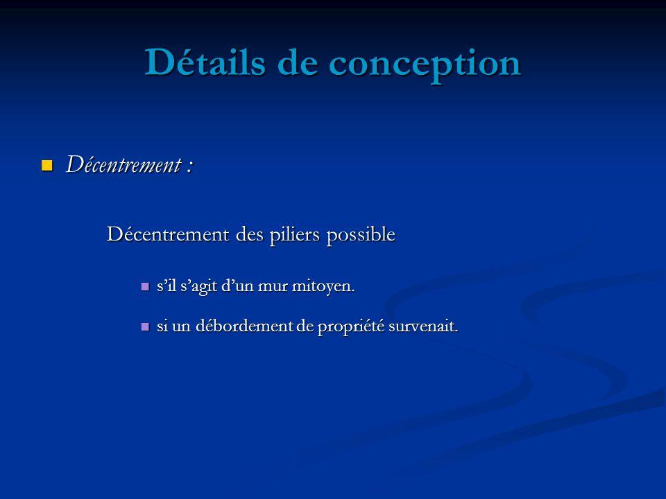Détails de conception Décentrement des piliers possible Décentrement :