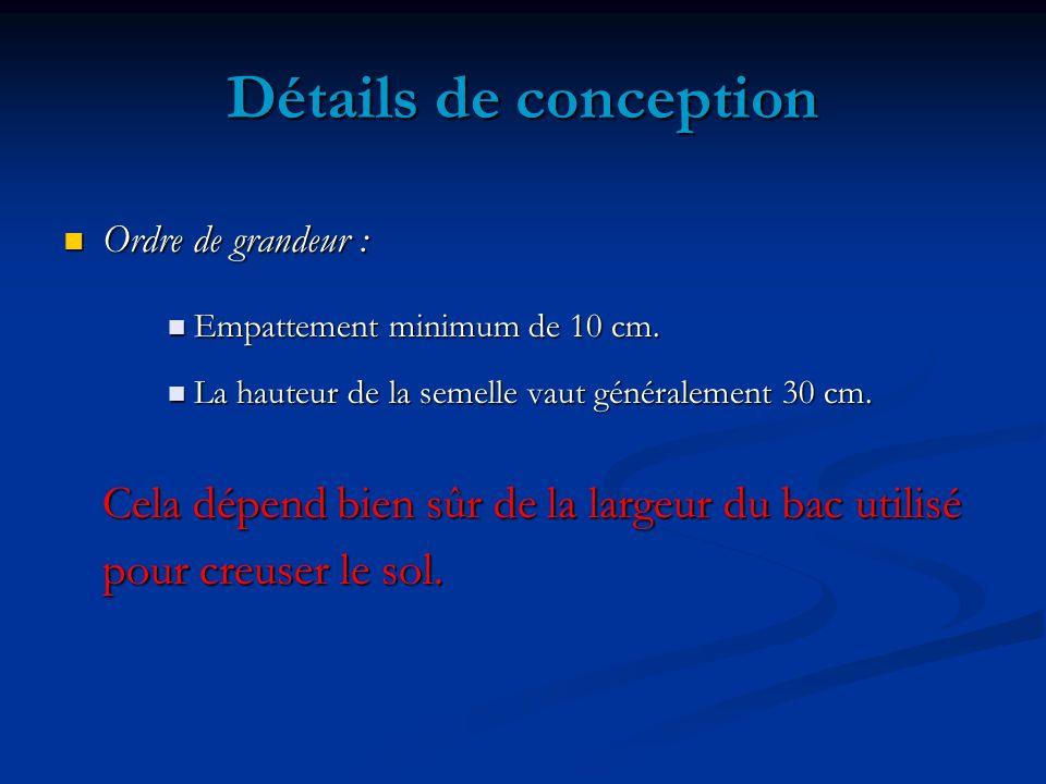Détails de conception Ordre de grandeur : Empattement minimum de 10 cm. La hauteur de la semelle vaut généralement 30 cm.