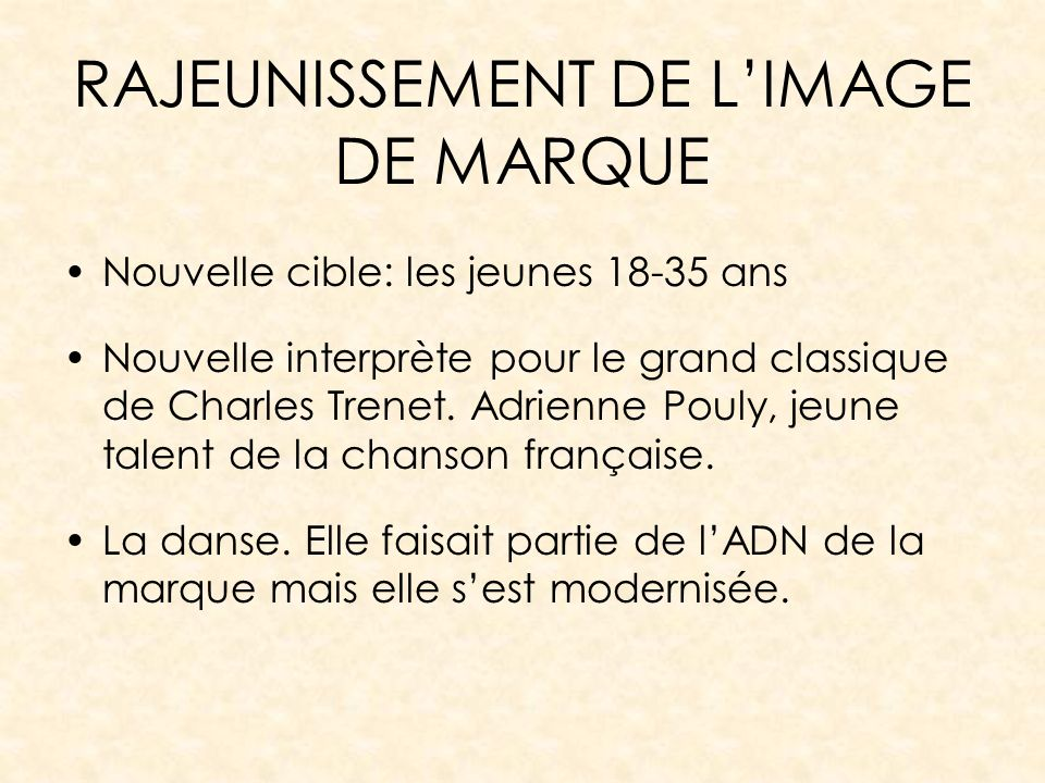 RAJEUNISSEMENT DE L'IMAGE DE MARQUE