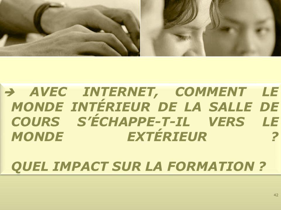  AVEC INTERNET, COMMENT LE MONDE INTÉRIEUR DE LA SALLE DE COURS S'ÉCHAPPE-T-IL VERS LE MONDE EXTÉRIEUR .