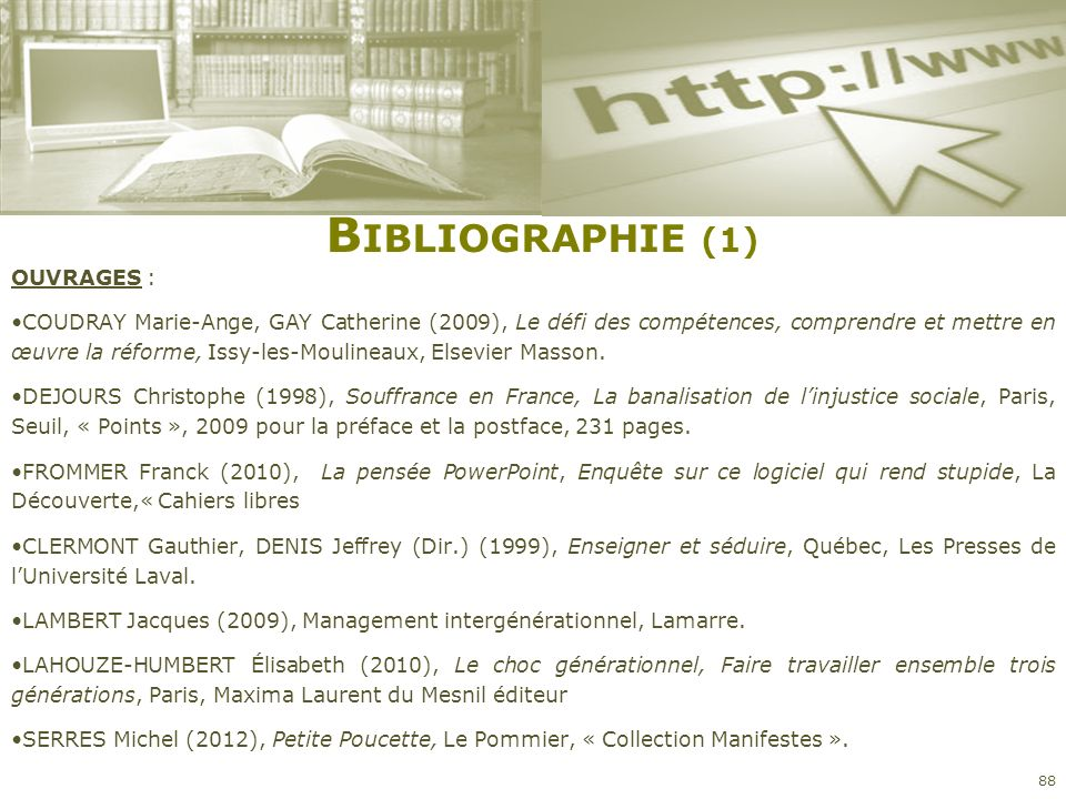 Bibliographie (1) OUVRAGES :