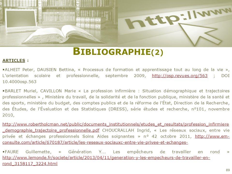 Bibliographie(2) ARTICLES :
