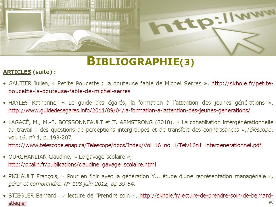 Bibliographie(3) ARTICLES (suite) :