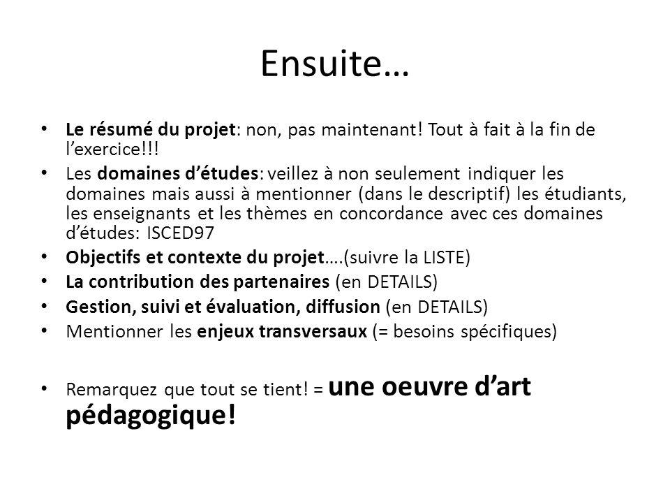 Ensuite… Le résumé du projet: non, pas maintenant! Tout à fait à la fin de l'exercice!!!