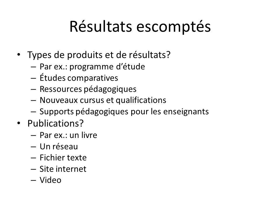 Résultats escomptés Types de produits et de résultats Publications