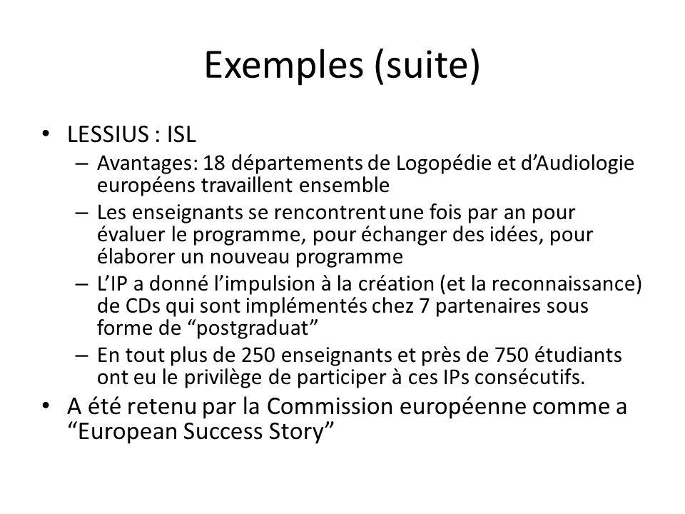 Exemples (suite) LESSIUS : ISL