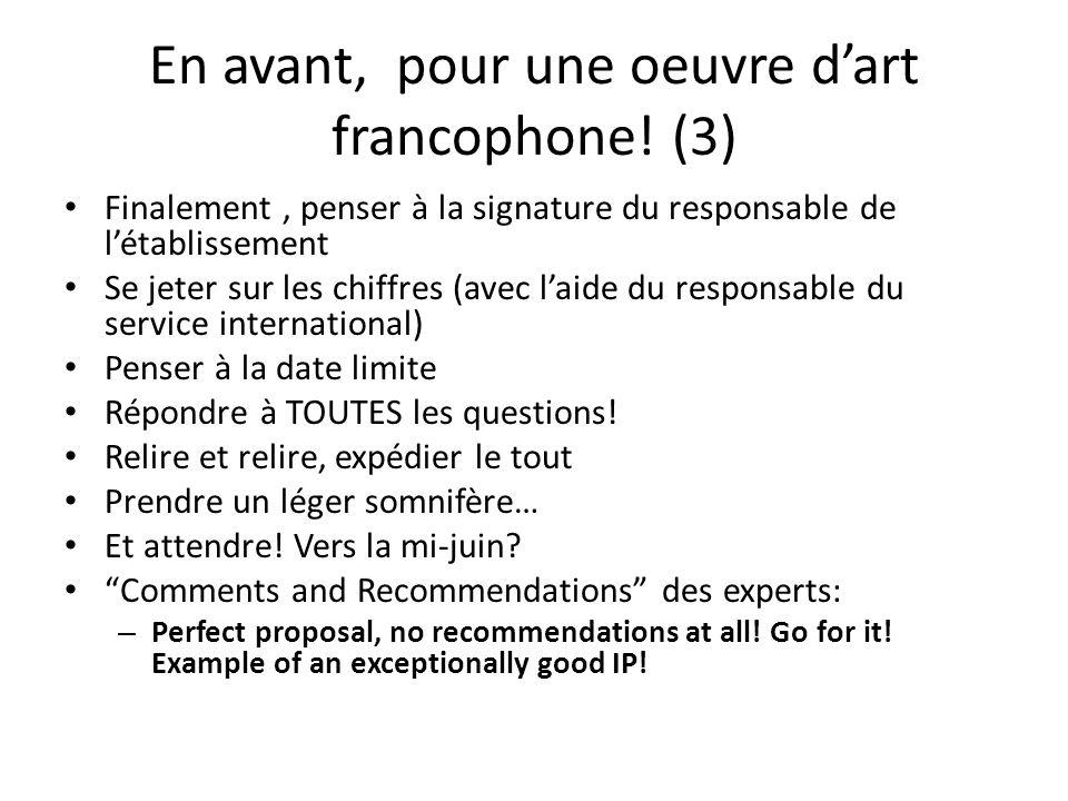 En avant, pour une oeuvre d'art francophone! (3)