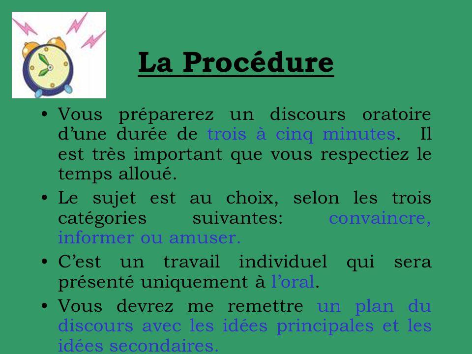 La Procédure Vous préparerez un discours oratoire d'une durée de trois à cinq minutes. Il est très important que vous respectiez le temps alloué.