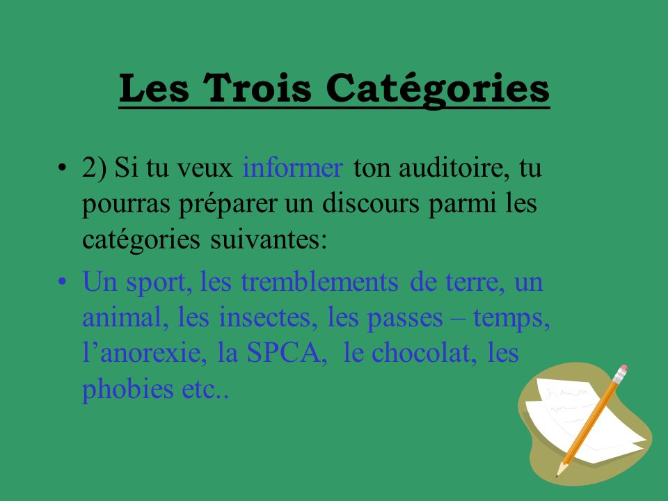Les Trois Catégories 2) Si tu veux informer ton auditoire, tu pourras préparer un discours parmi les catégories suivantes: