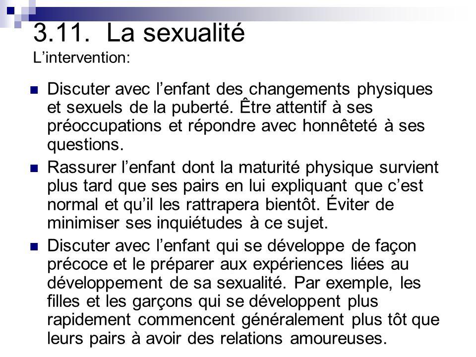 3.11. La sexualité L'intervention:
