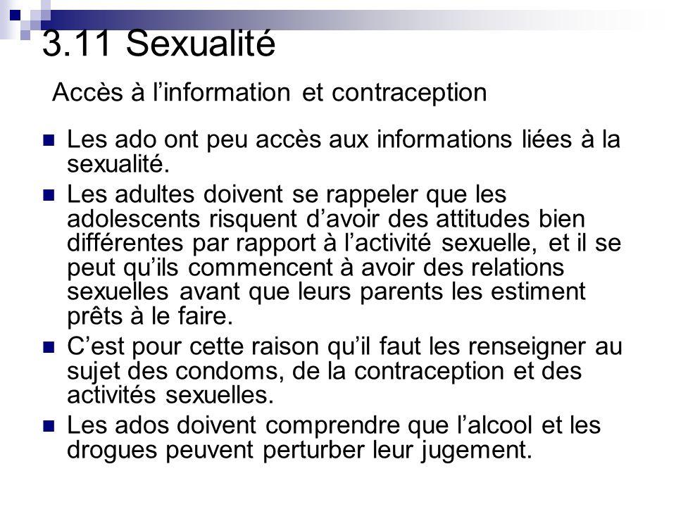 3.11 Sexualité Accès à l'information et contraception