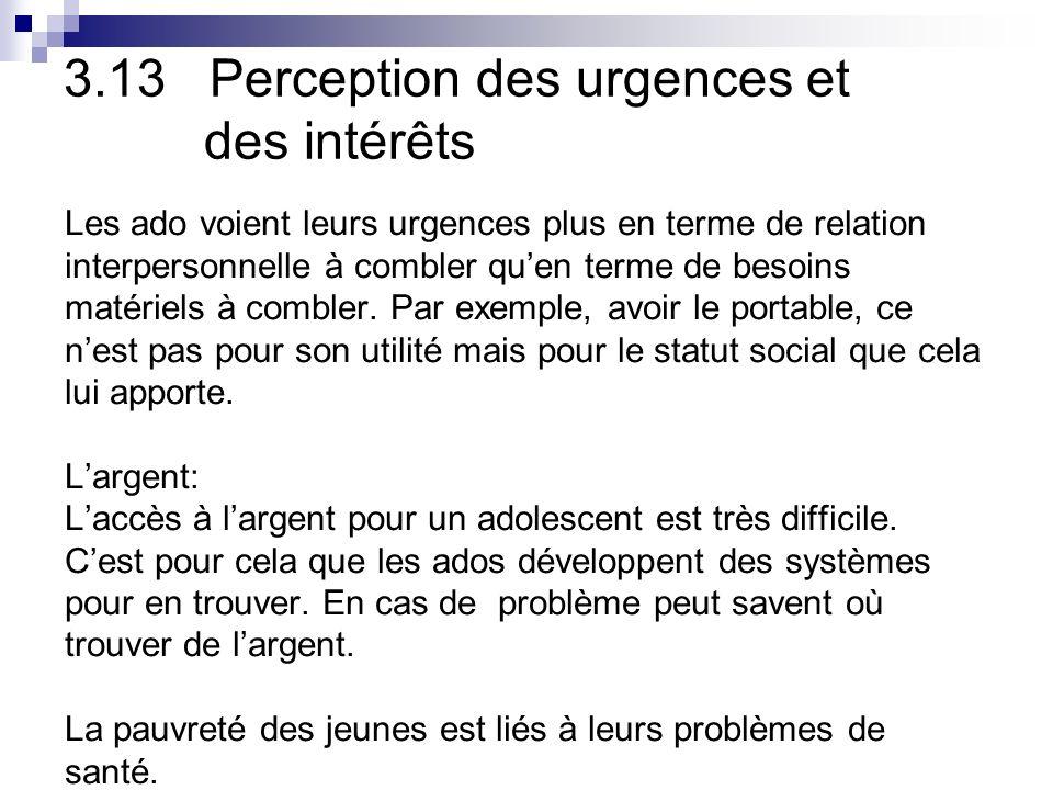 3.13 Perception des urgences et des intérêts