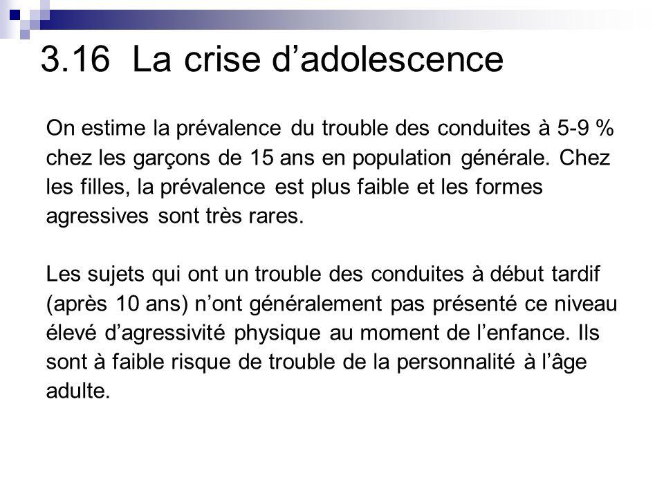 3.16 La crise d'adolescence