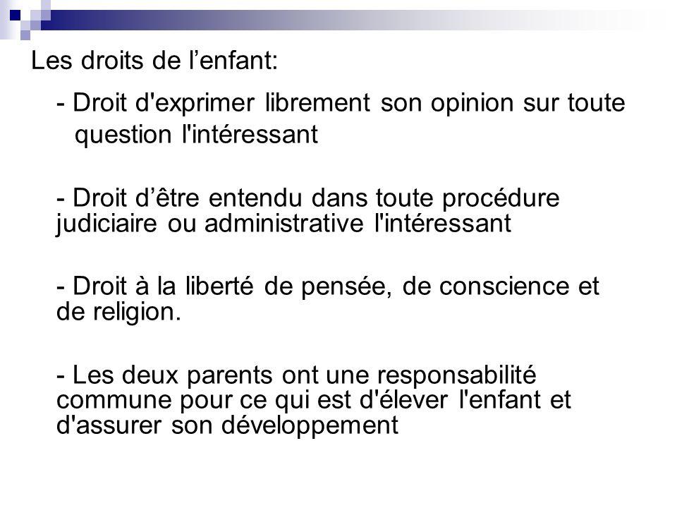 Les droits de l'enfant: