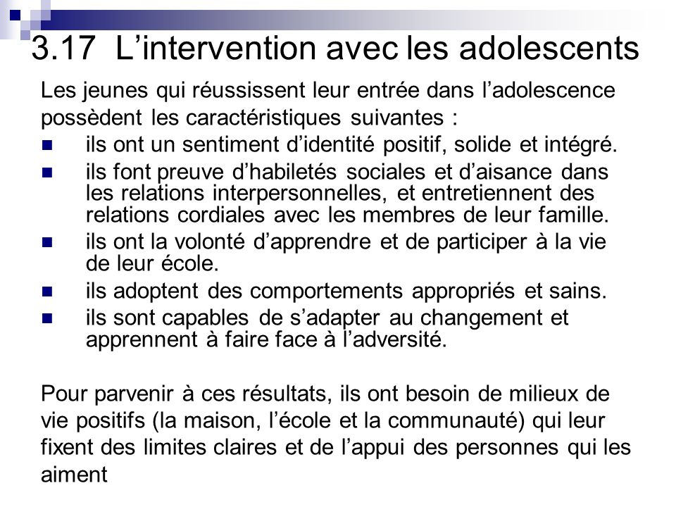 3.17 L'intervention avec les adolescents
