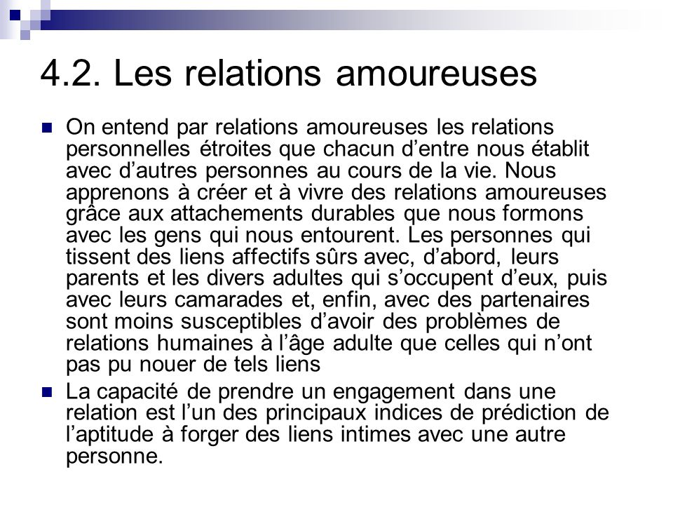 4.2. Les relations amoureuses