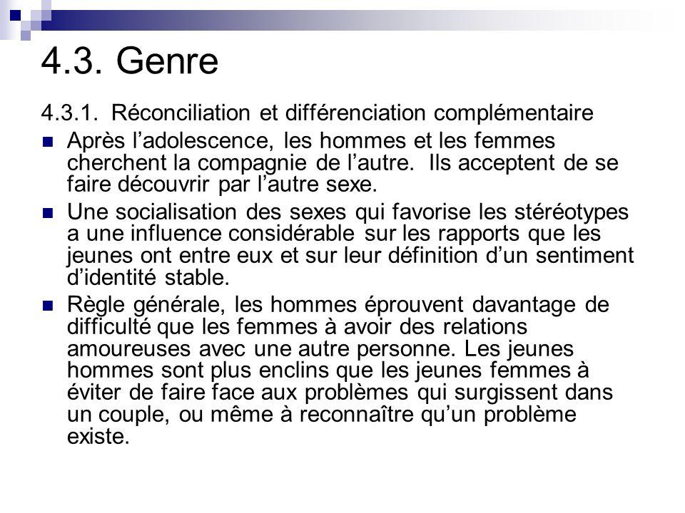 4.3. Genre 4.3.1. Réconciliation et différenciation complémentaire