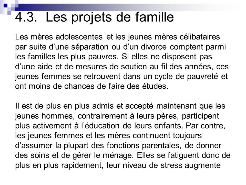 4.3. Les projets de famille Les mères adolescentes et les jeunes mères célibataires. par suite d'une séparation ou d'un divorce comptent parmi.