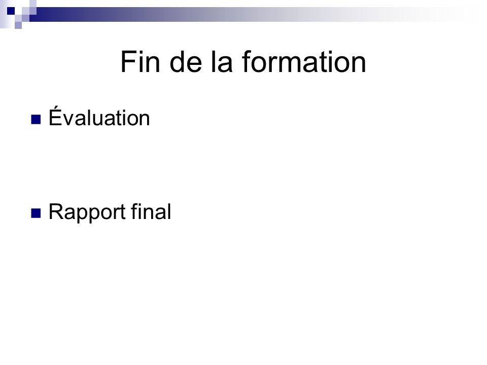 Fin de la formation Évaluation Rapport final