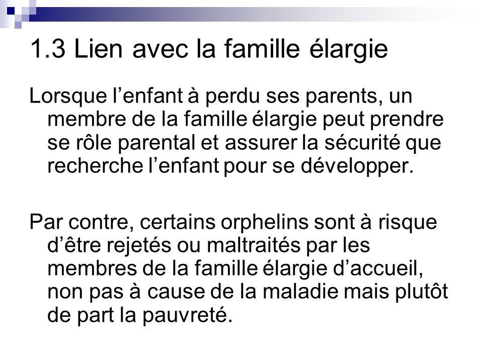 1.3 Lien avec la famille élargie