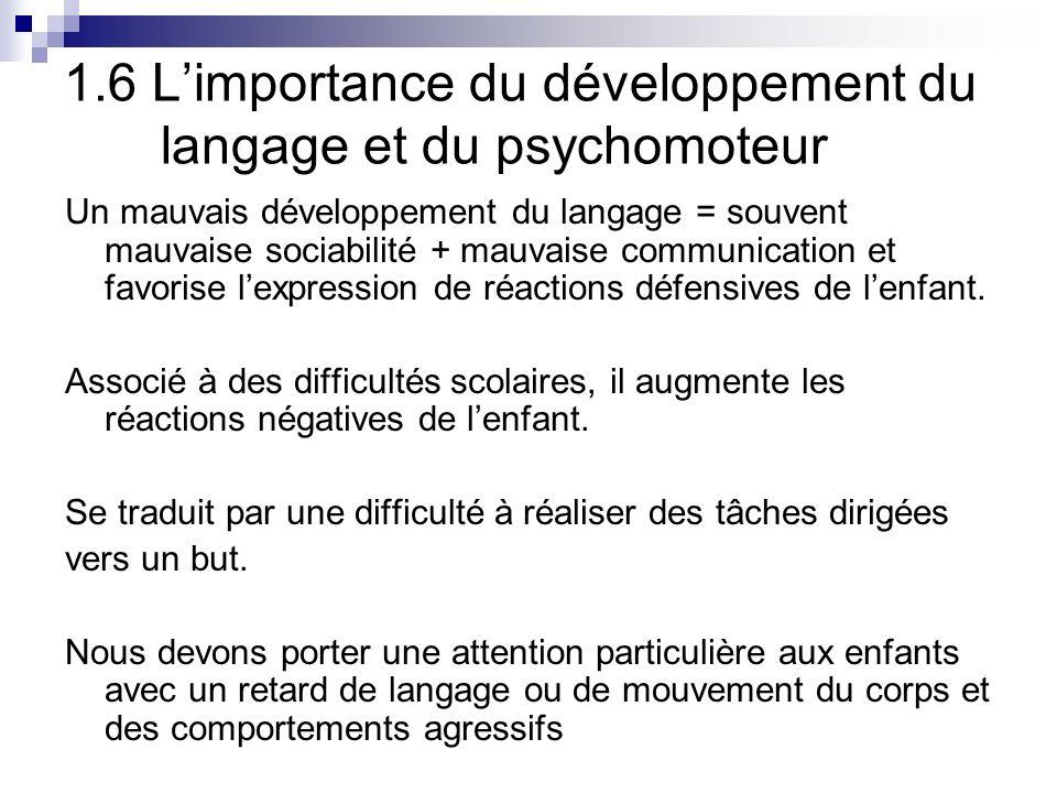 1.6 L'importance du développement du langage et du psychomoteur